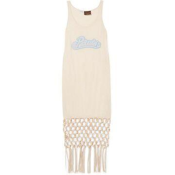 Loewe - Paula's Ibiza Embellished Macrame-trimmed Silk And Cotton-blend Jersey Dress - Ivory
