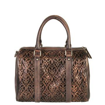 Diophy Genuine Leather Laser-cut Tote Handbag