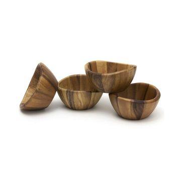 Acacia Wave Bowls, Set of 4