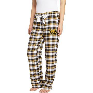 Concepts Sport Women's Iowa Hawkeyes Black/Gold Piedmont Flannel Sleep Pants