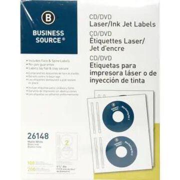 Business Source Laser/Inkjet CD/DVD Labels - White (White)