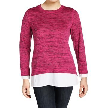 Marc New York Womens Plus Space Dye Mixed Media Pullover Sweater