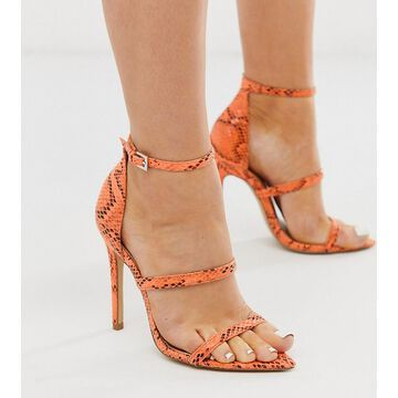 London Rebel wide fit pointed strappy stiletto heeled sandals in orange snake