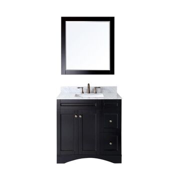 Virtu USA Elise 36-in Espresso Undermount Single Sink Bathroom Vanity with Italian Carrara White Marble Top (Mirror Included) in Brown