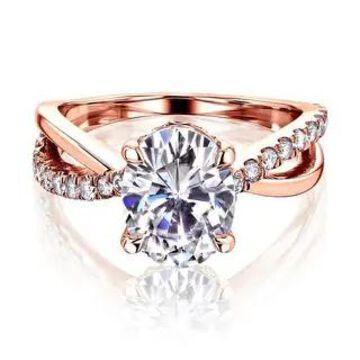 Annello by Kobelli 14K Gold Ribbon Bypass Oval Moissanite Engagement Ring (HI/VS, DEF/VS)
