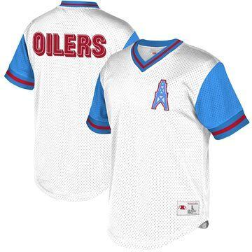 Men's Mitchell & Ness White/Light Blue Houston Oilers Historic Logo Mesh V-Neck T-Shirt
