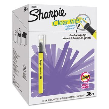 Sharpie Clear View Highlighter Stick - Office Pack Chisel Tip Assorted 36/PK