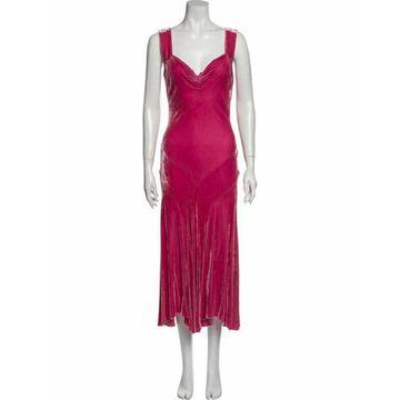V-Neck Long Dress Pink