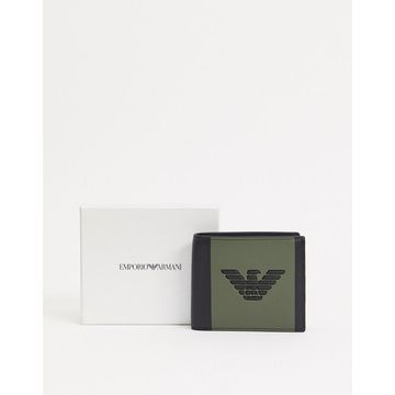 Emporio Armani eagle logo coin pocket wallet in black with khaki color block