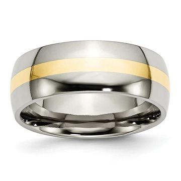Chisel Titanium 14K Yellow Inlay 8mm Polished Standard Fit Wedding Band (8.5)