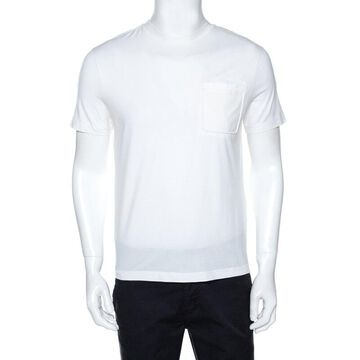 Prada White Stretch Cotton Contrast Hem Detail T-Shirt M