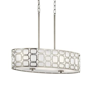 Kichler Sabine Brushed Nickel Modern/Contemporary Etched Glass Drum Large (Larger Than 22-in) Pendant Light | 34840