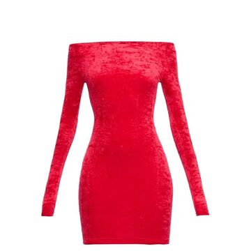 Balenciaga - Off-the-shoulder Velvet Mini Skort Dress - Womens - Red