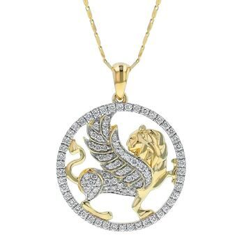 14K Yellow Gold 2/3 ct Diamonds Griffin Necklace by Beverly Hills Charm