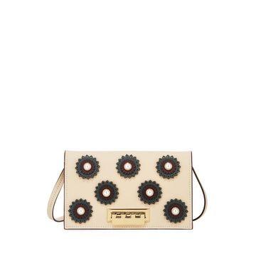 Earthette Floral Studded Colorblock Crossbody Bag, Light Beige