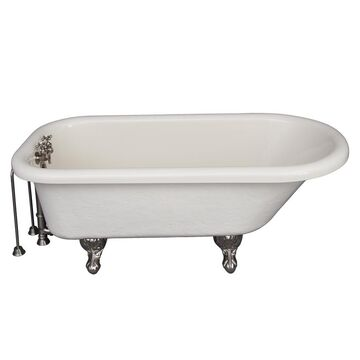 Barclay 30-in W x 60-in L Bisque Acrylic Oval Back Center Drain Clawfoot Soaking and Faucet Included in Off-White