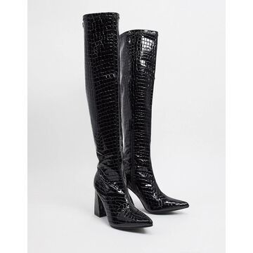 Truffle Collection pointed knee high heeled boots in black croc