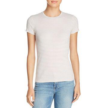 Three Dots Womens Striped Crew T-Shirt