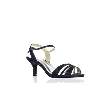 Caparros Womens Gemini Navy Glimmer Ankle Strap Heels Size 6.5