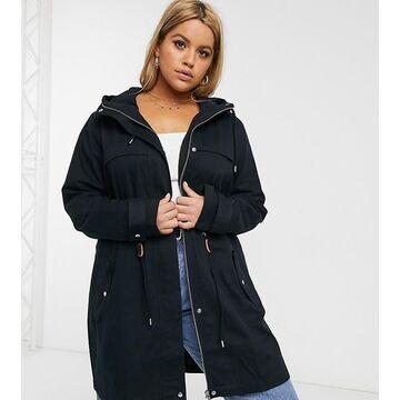Junarose lightweight hoodied parka in black