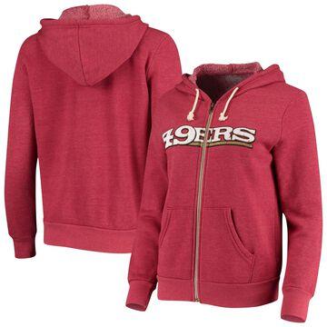 Women's San Francisco 49ers Majestic Threads Scarlet Wordmark Tri-Blend Full-Zip Hoodie