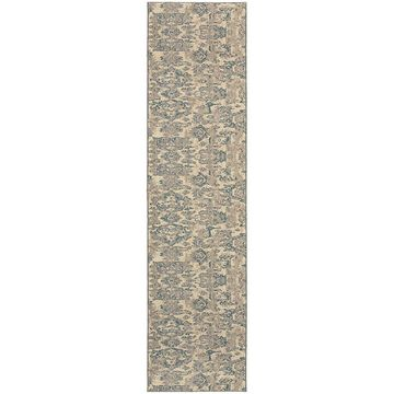 Style Haven Distressed Floral Ivory/Blue Area Rug (2'7 x 10') - 2'7