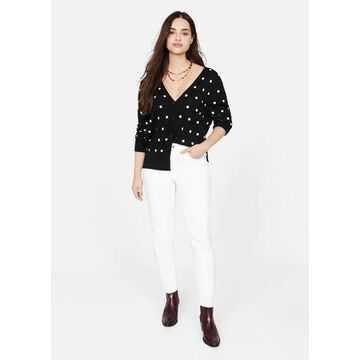 Violeta BY MANGO - Polka-dot cardigan black - L - Plus sizes