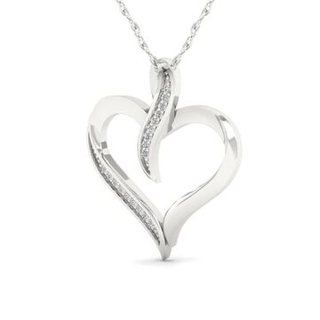 De Couer IGI Certified 10K White Gold 1/20ct TDW Diamond Necklace (White)