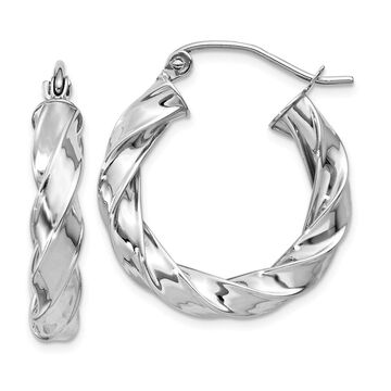 Versil 14 Karat White Gold Light Twisted Hoop Earrings