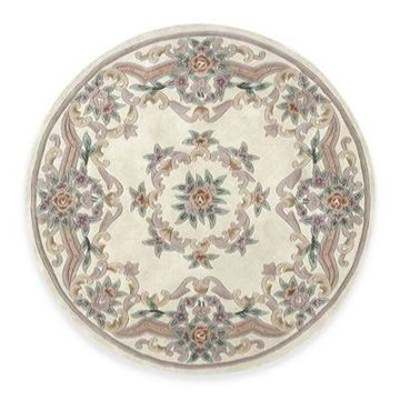 Rugs America New Aubusson 6-Foot Round Rug in Ivory