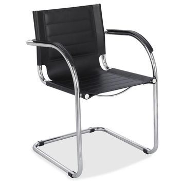 Safco Flaunt Black Leather Guest Chair (Black Leather)