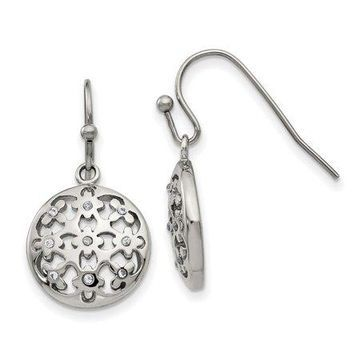 Primal Steel Stainless Steel Polished Cubic Zirconia Circle Shepherd Hook Earrings