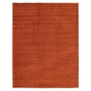 Unique Loom Solid Shag Collection Modern Plush Rug, Orange, 5Ft Rnd