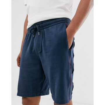 Abercrombie & Fitch logo side taping sweat shorts in navy