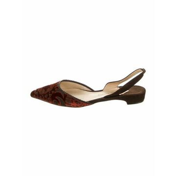 Patterned Lasercut Accents Slingback Flats Red
