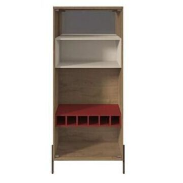 Manhattan Comfort Joy 8-Bottle Wine Cabinet with 4 Shelves in Red and Off White (Red)