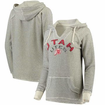 Utah Utes Blue 84 Women's PRG Striped French Terry V-Neck Hoodie - Cream