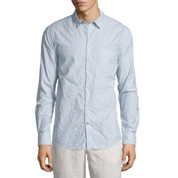Striped Wrinkled Sport Shirt, Camel