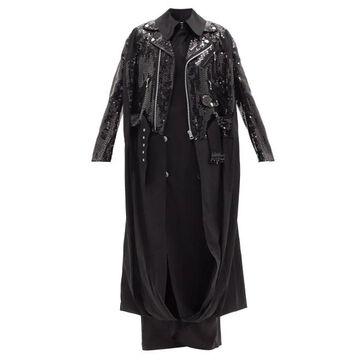 Junya Watanabe - Sequinned Layered Cotton Trench Coat - Womens - Black