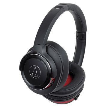Audio-Technica Black & Red Solid Bass Wireless Over-Ear Headphones