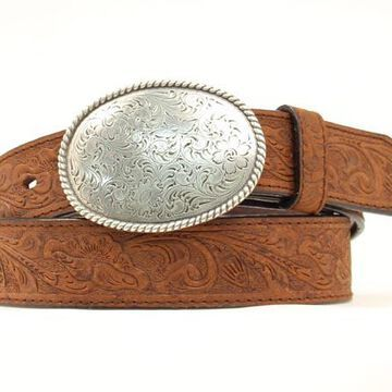 N1011644-44 Floral Embossed Belt with Oval Buckle, Medium Brown Distressed - Size 44