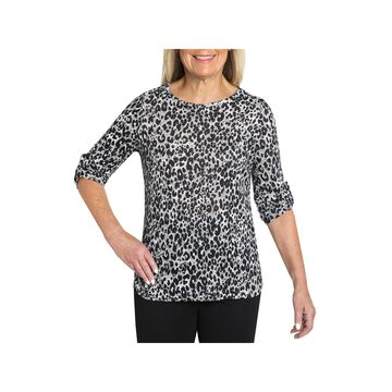 Cathy Daniels Separate Hacci-Womens Round Neck 3/4 Sleeve T-Shirt