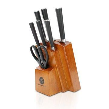 Ginsu Gourmet Chikara Series Forged 8-Piece Japanese Steel Knife Set, Cutlery Set with 420J Stainless Steel Kitchen Knives, Finished Hardwood Block, COK-KB-DS-008-3