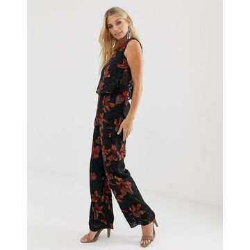 Religion sleeveless jumpsuit in dobby floral