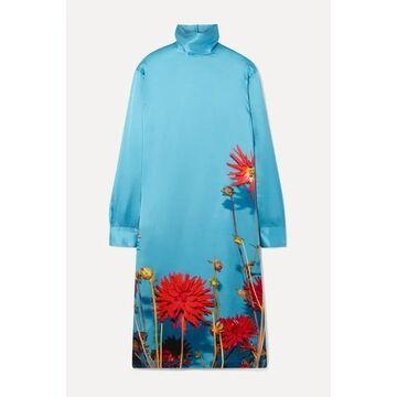Dries Van Noten - Dontisy Floral-print Satin Dress - Light blue