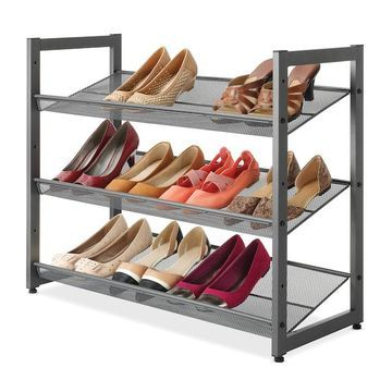 Whitmor Gunmetal 3-Tier Shoe Storage Shelf