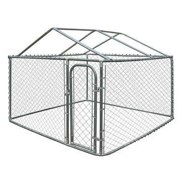 ALEKO DIY Chain Link Box Dog Kennel With Roof Frame (7.5' w x 7.5' l x 6' h)