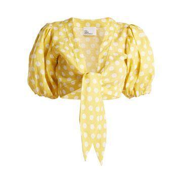 Lisa Marie Fernandez - Puff Sleeved Linen Blouse - Womens - Yellow Multi