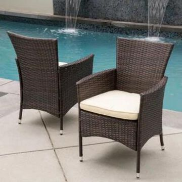 Malta Outdoor Wicker Dining Chair by Christopher Knight Home (Set of 2) (Brown+Beige)
