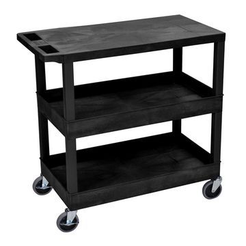 Luxor Plastic Black High Capacity Utility Cart with Shelves
